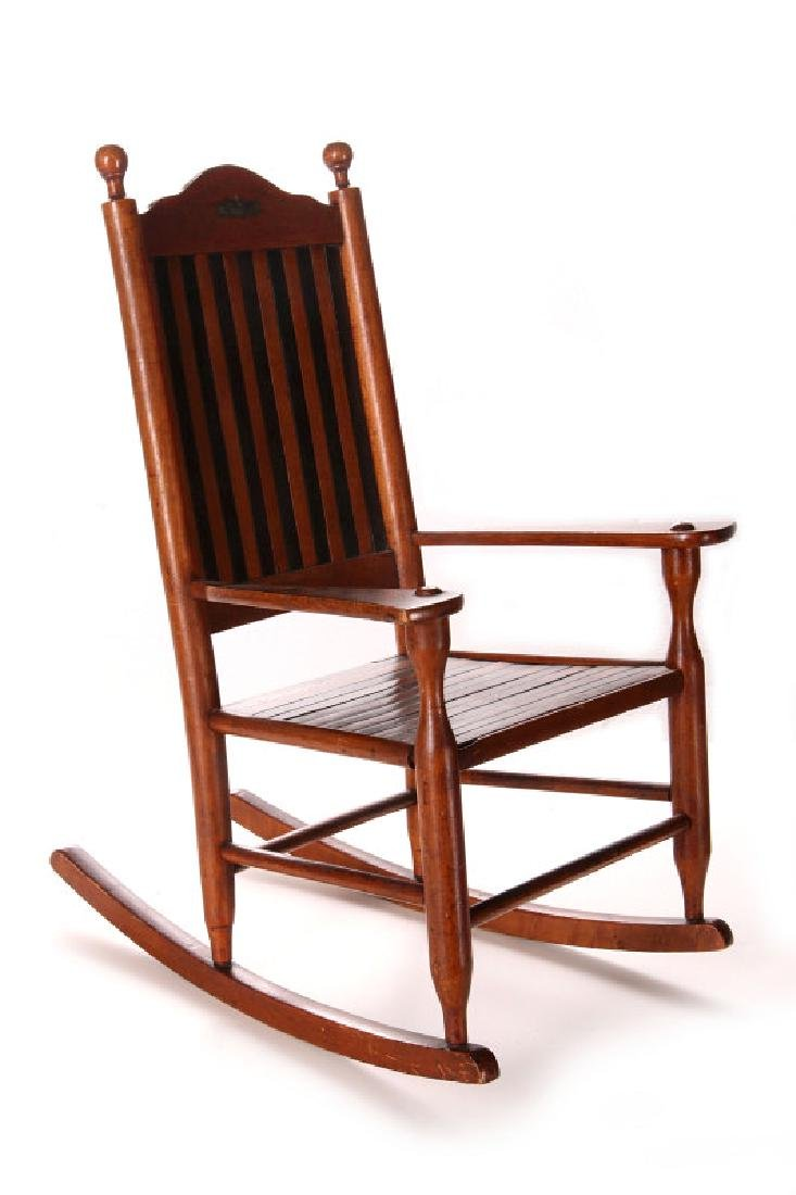 UNUSUAL CHILD'S HIGH BACK ROCKING CHAIR PAT'D 1873