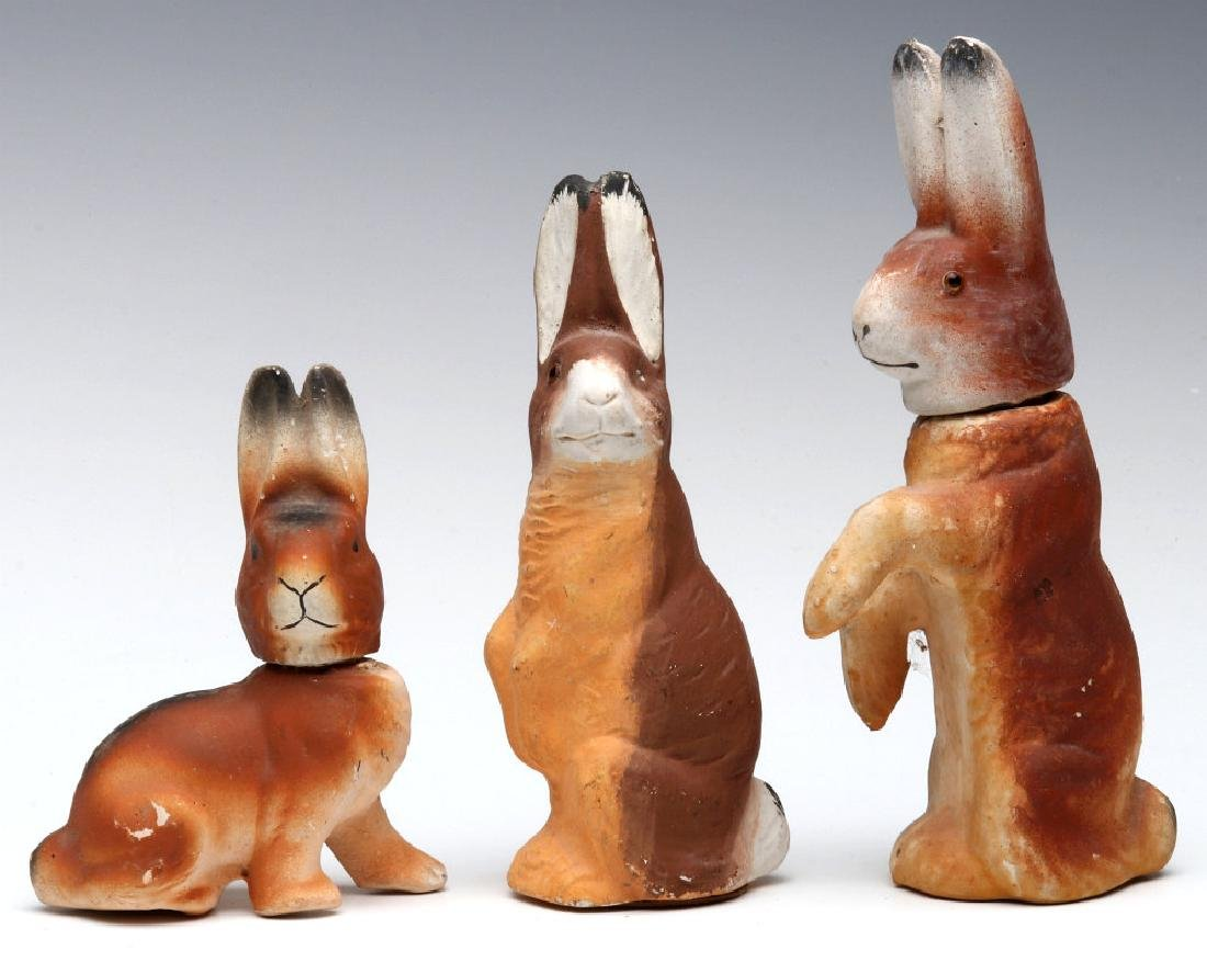 THREE VINTAGE EASTER RABBIT CANDY CONTAINERS