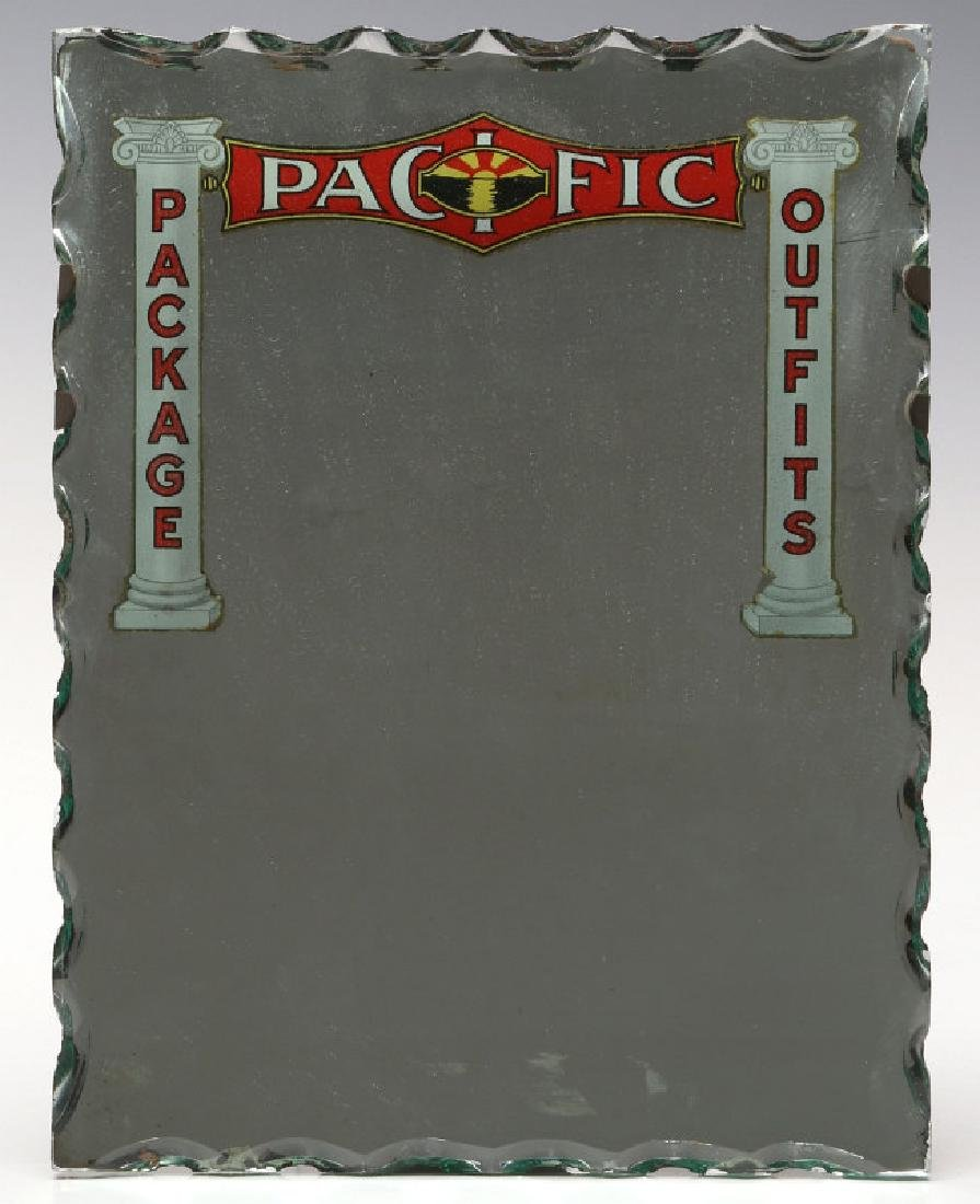 A 1910s MIRROR ADVERTISING PACIFIC PACKAGE OUTFITS