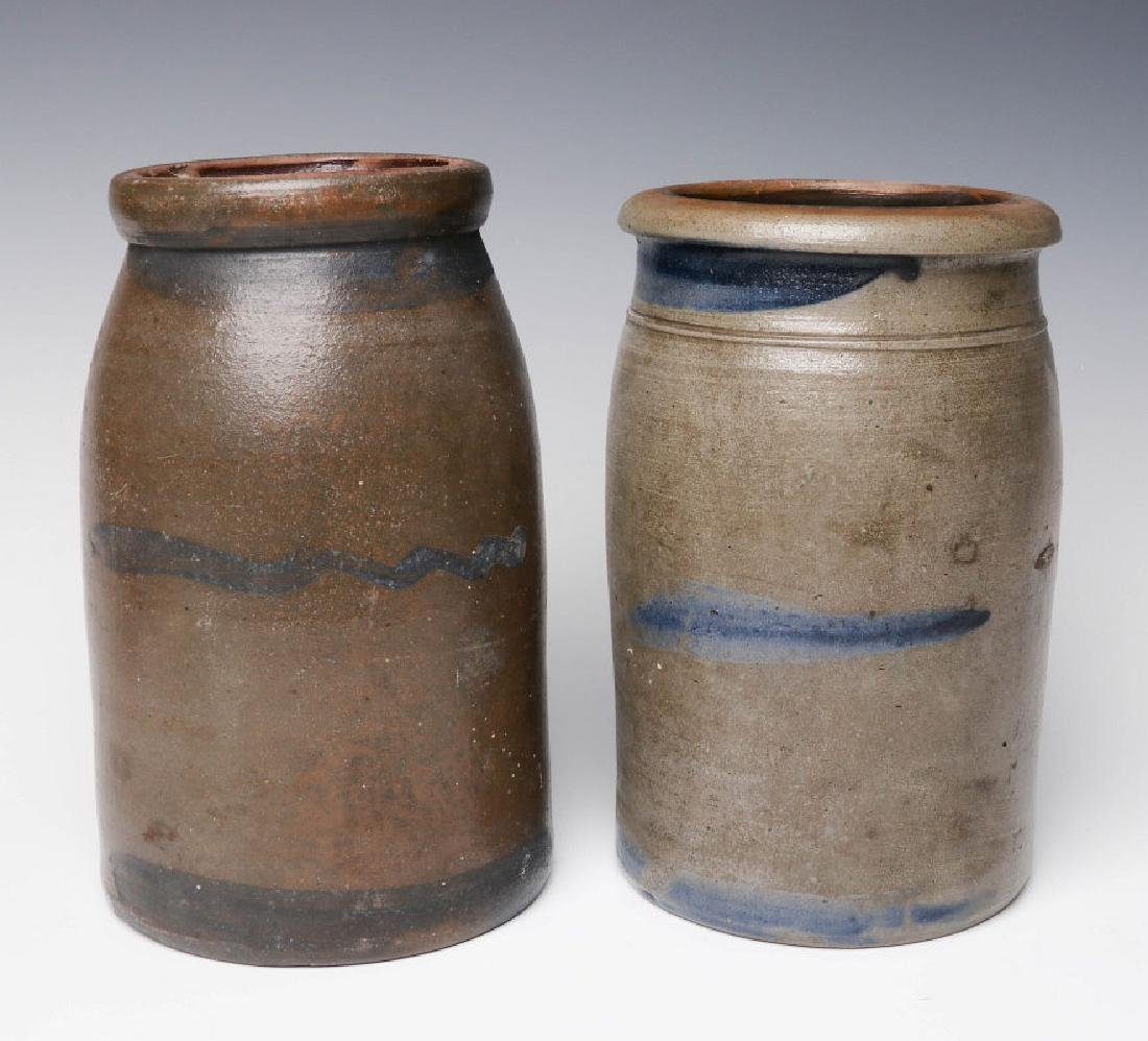 TWO 19TH C. BLUE DECORATED STONEWARE CANNING JARS
