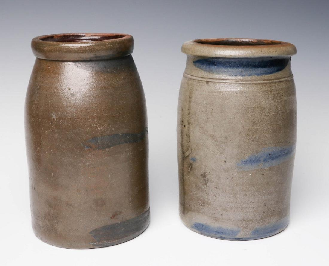 TWO 19TH C. BLUE DECORATED STONEWARE CANNING JARS - 2