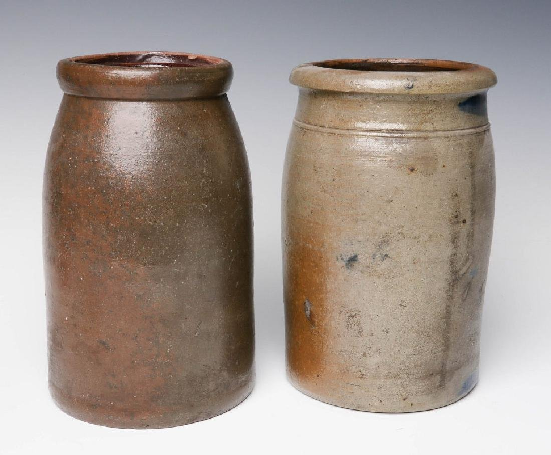 TWO 19TH C. BLUE DECORATED STONEWARE CANNING JARS - 3