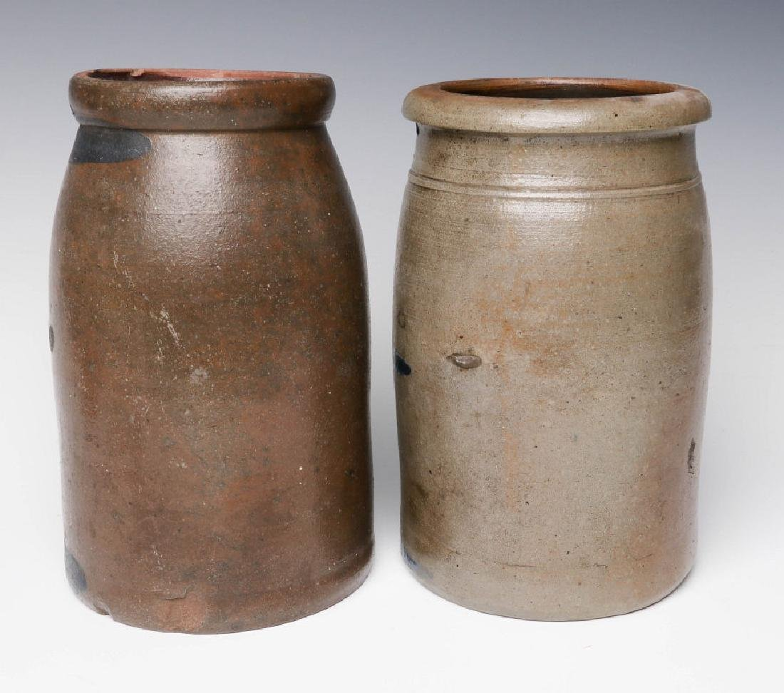 TWO 19TH C. BLUE DECORATED STONEWARE CANNING JARS - 4