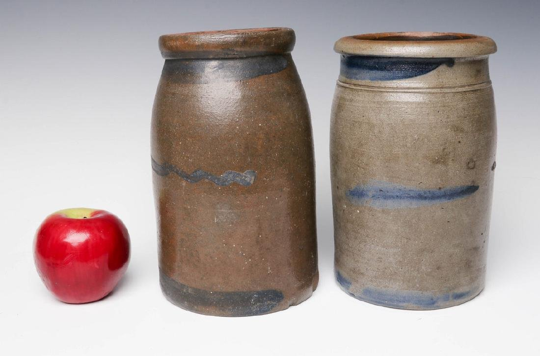 TWO 19TH C. BLUE DECORATED STONEWARE CANNING JARS - 5