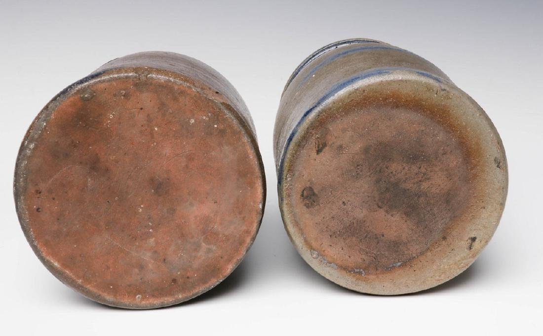 TWO 19TH C. BLUE DECORATED STONEWARE CANNING JARS - 6