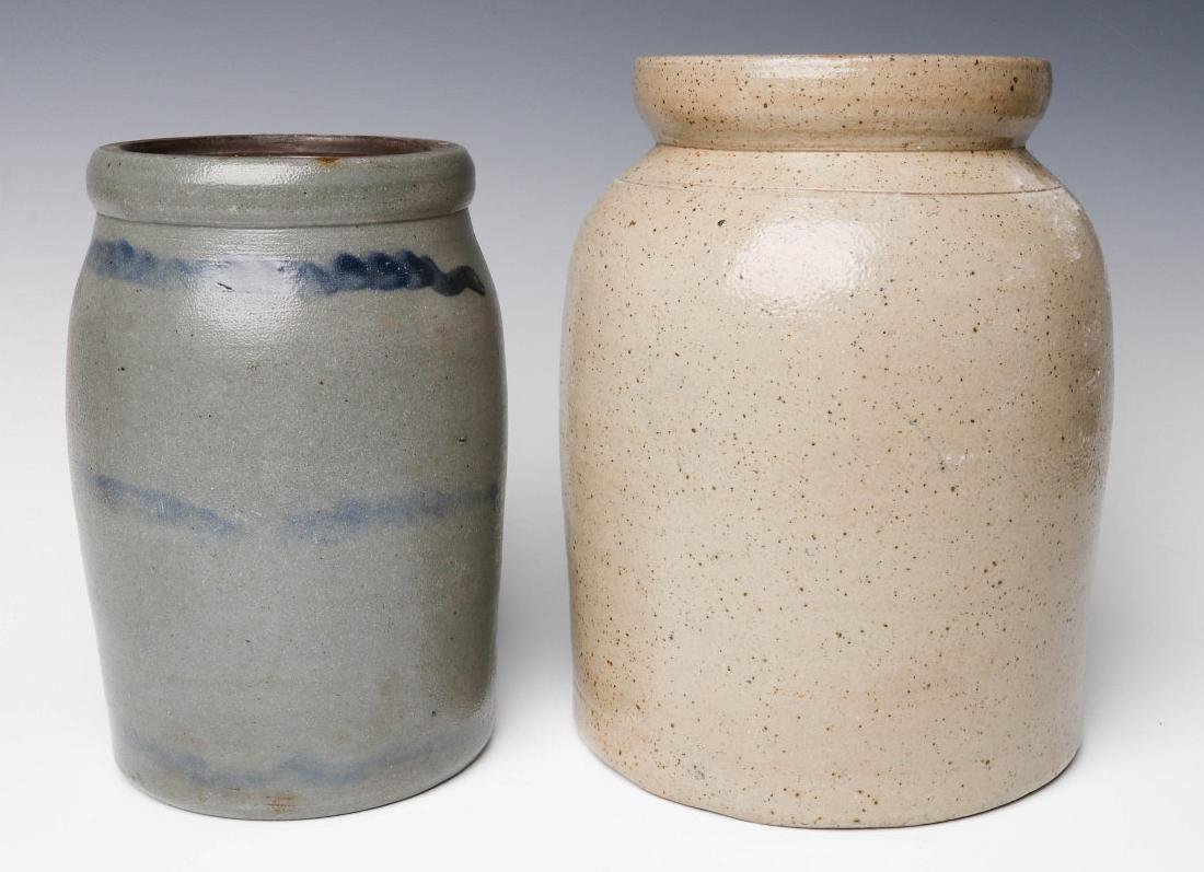 TWO 19TH CENTURY STONEWARE CANNING JARS