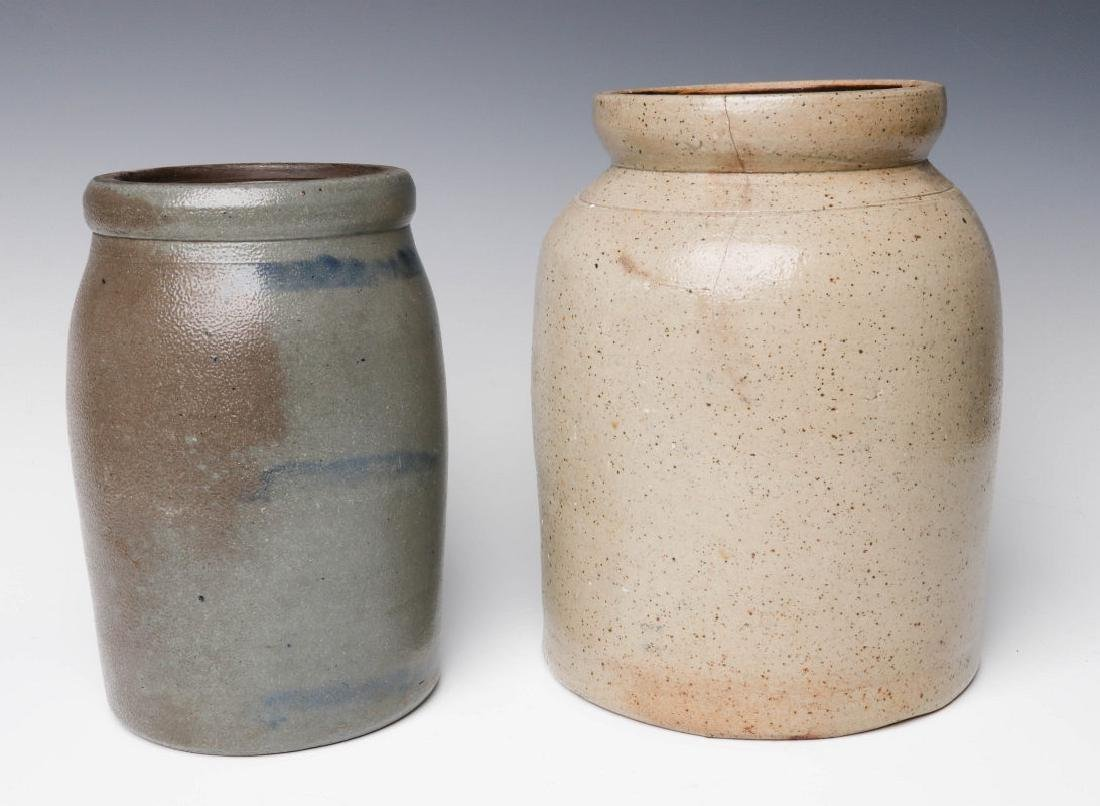 TWO 19TH CENTURY STONEWARE CANNING JARS - 2