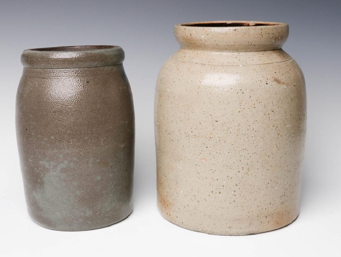TWO 19TH CENTURY STONEWARE CANNING JARS - 3