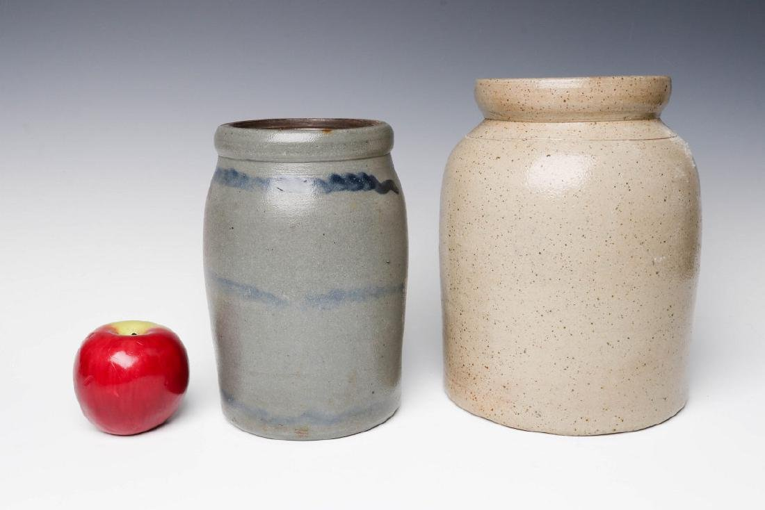 TWO 19TH CENTURY STONEWARE CANNING JARS - 5