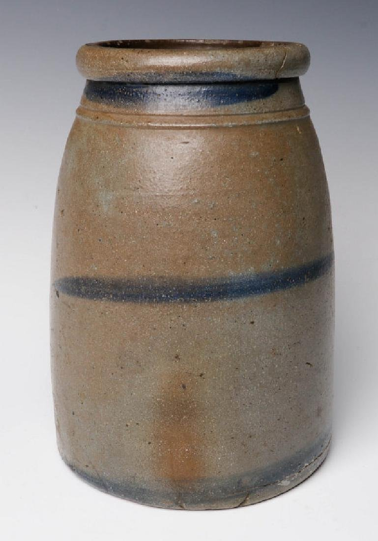 A 19TH C. BLUE DECORATED STONEWARE CANNING JAR