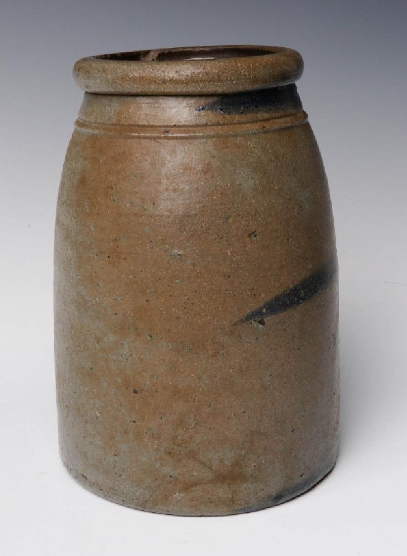 A 19TH C. BLUE DECORATED STONEWARE CANNING JAR - 2