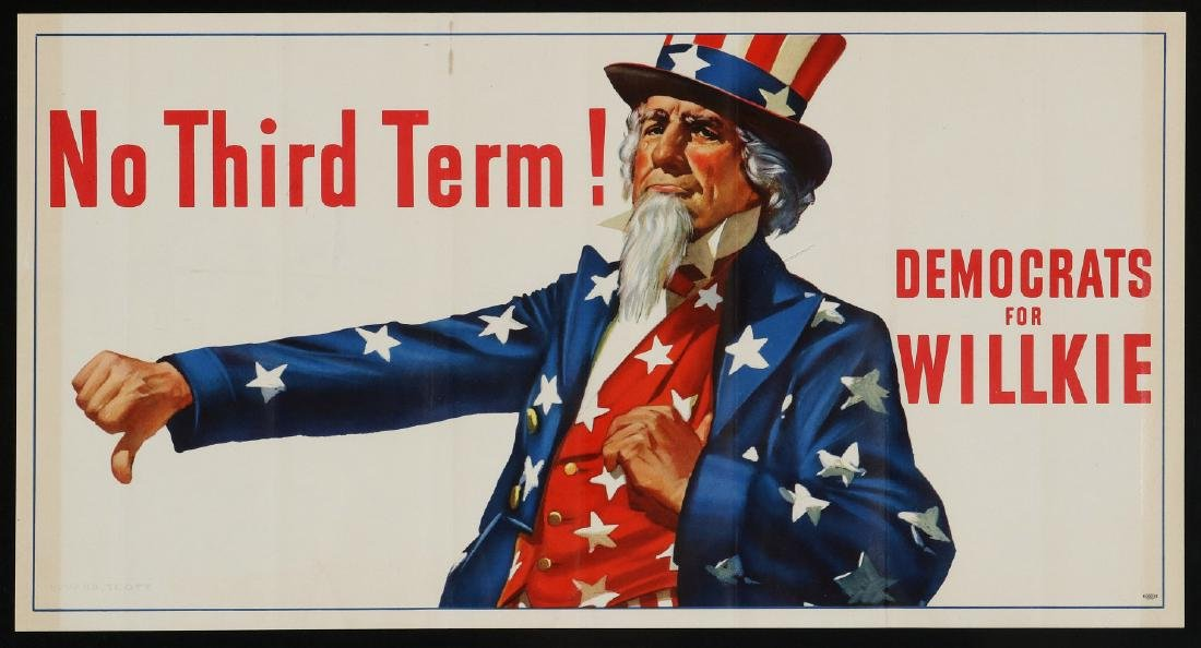 1940 ELECTION 'DEMOCRATS FOR WILLKIE NO THIRD TERM