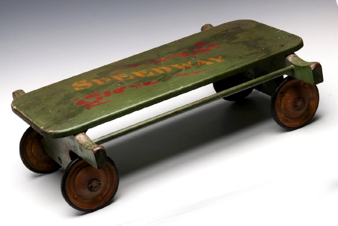 A LATE 19TH CENTURY 'SPEEDWAY' WAGON IN OLD PAINT