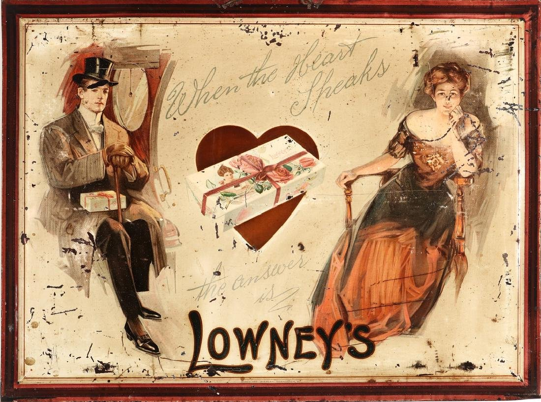 LOWNEY'S CHOCOLATES TIN SIGN WITH GIBSON GIRL