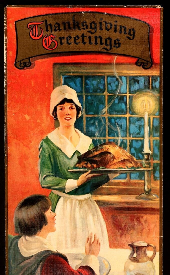 A 1930s BOND BREAD THANKSGIVING GREETINGS SIGN