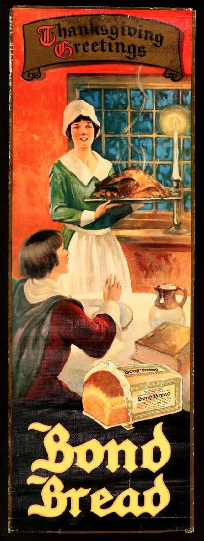 A 1930s BOND BREAD THANKSGIVING GREETINGS SIGN - 2