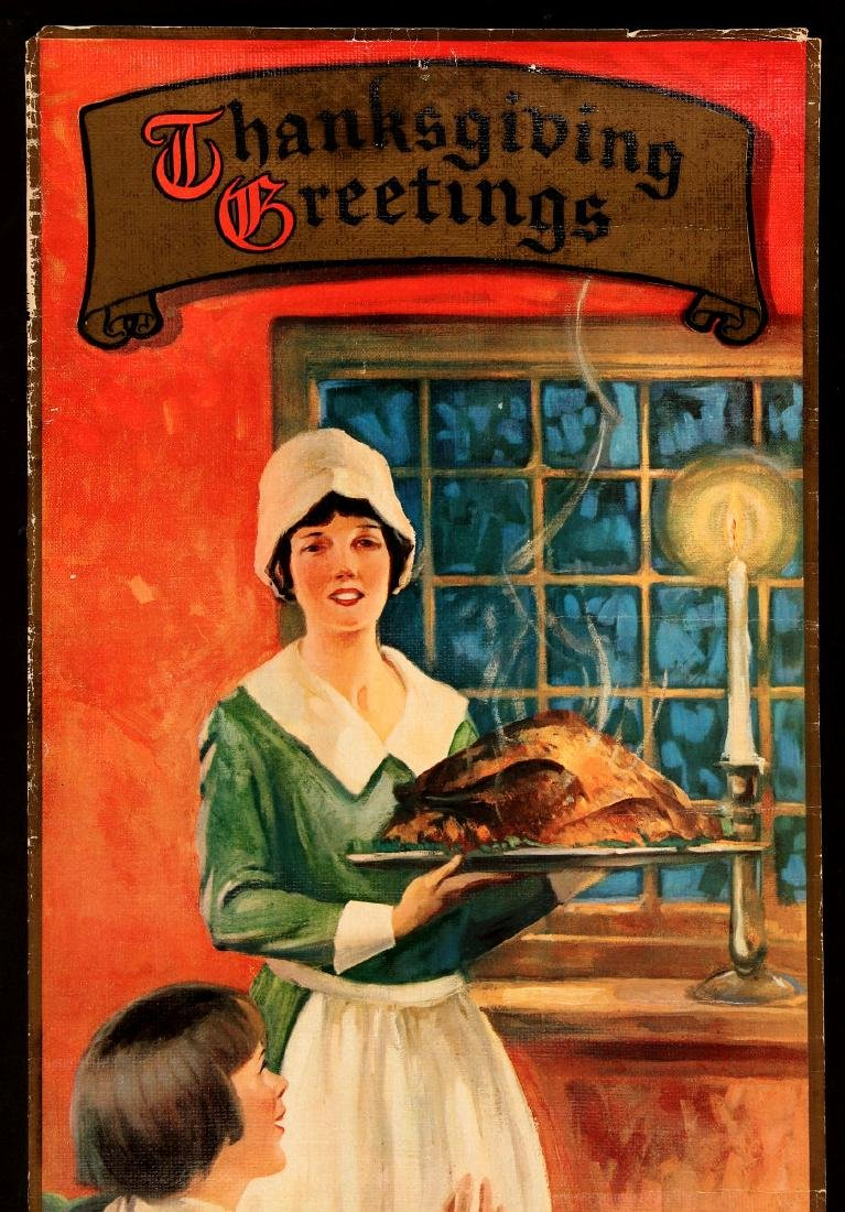A 1930s BOND BREAD THANKSGIVING GREETINGS SIGN - 3