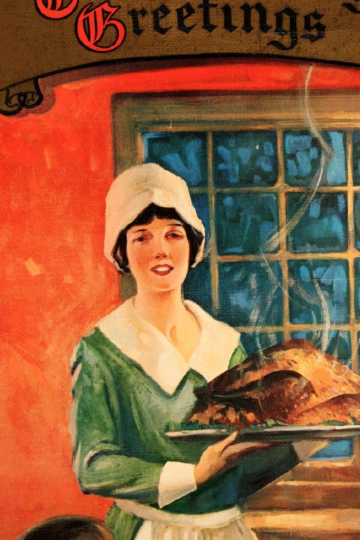 A 1930s BOND BREAD THANKSGIVING GREETINGS SIGN - 6