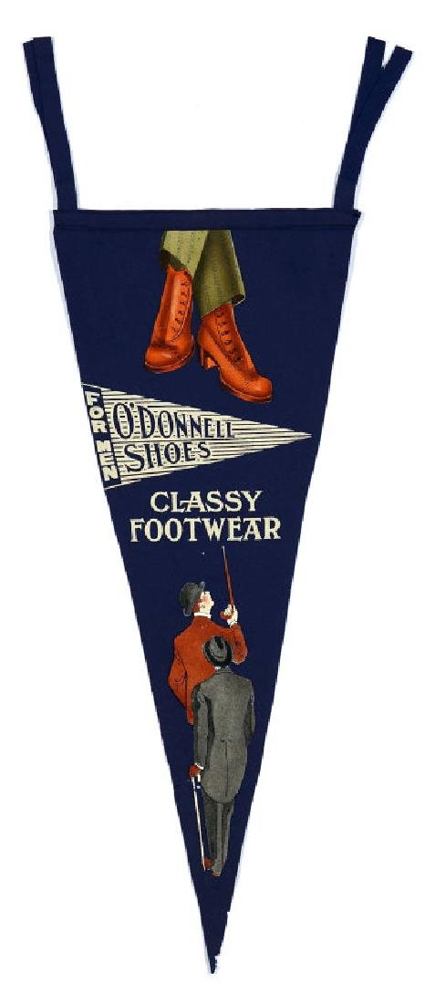 A 1910s O'DONNELL SHOES ADVERTISING PENNANT