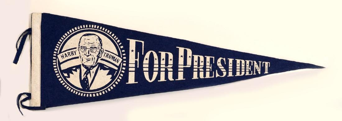 HARRY TRUMAN FOR PRESIDENT PRINTED FELT PENNANT