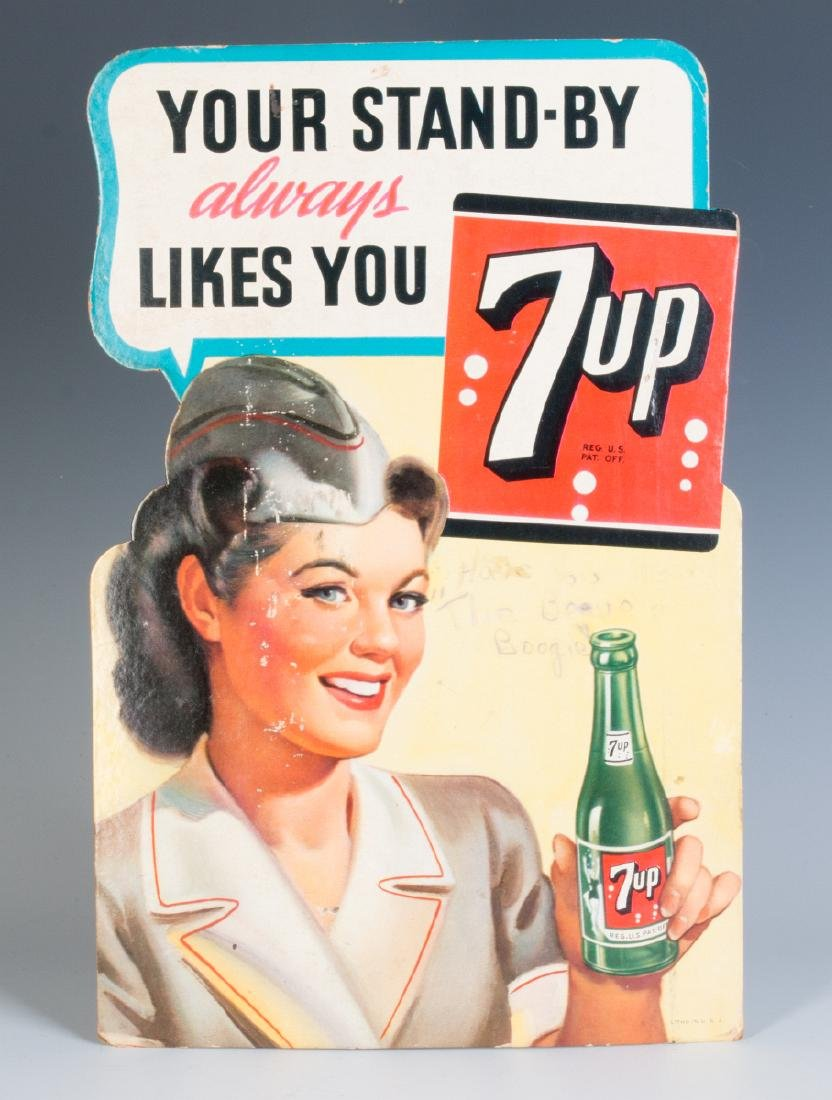A WORLD WAR II DIE-CUT EASEL BACK 7-UP SIGN