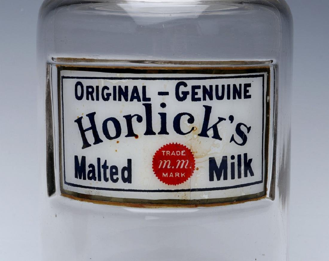 HORLICK'S LABEL UNDER GLASS DRUG STORE CANDY JAR - 2