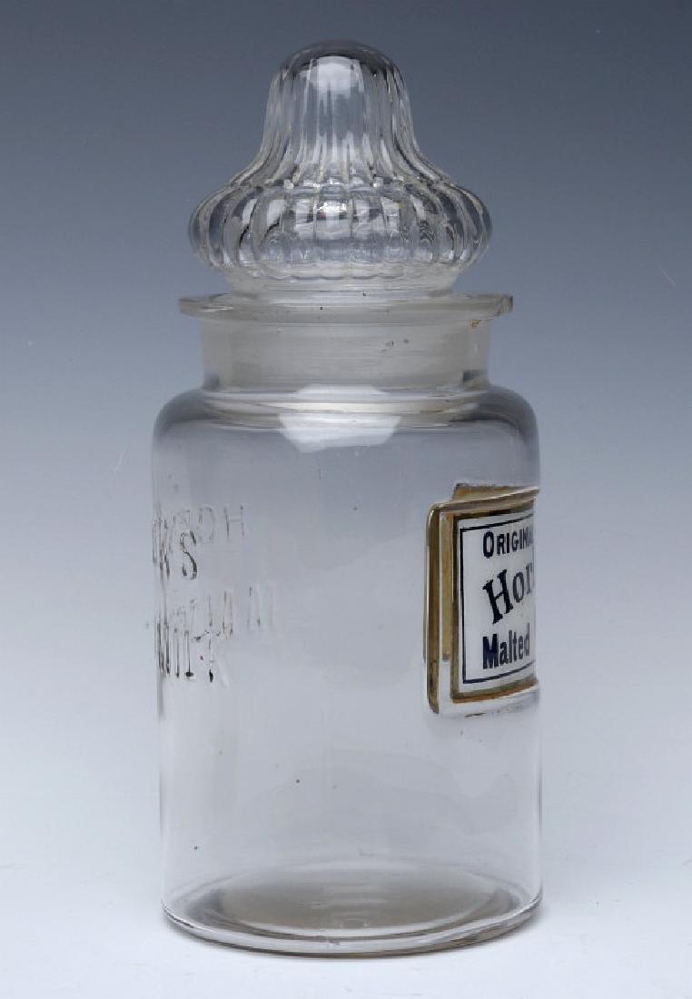 HORLICK'S LABEL UNDER GLASS DRUG STORE CANDY JAR - 3