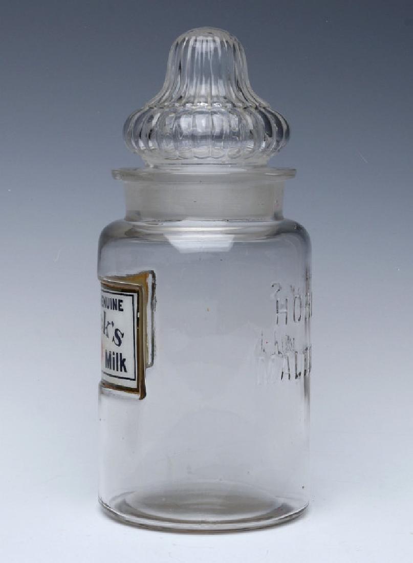 HORLICK'S LABEL UNDER GLASS DRUG STORE CANDY JAR - 5