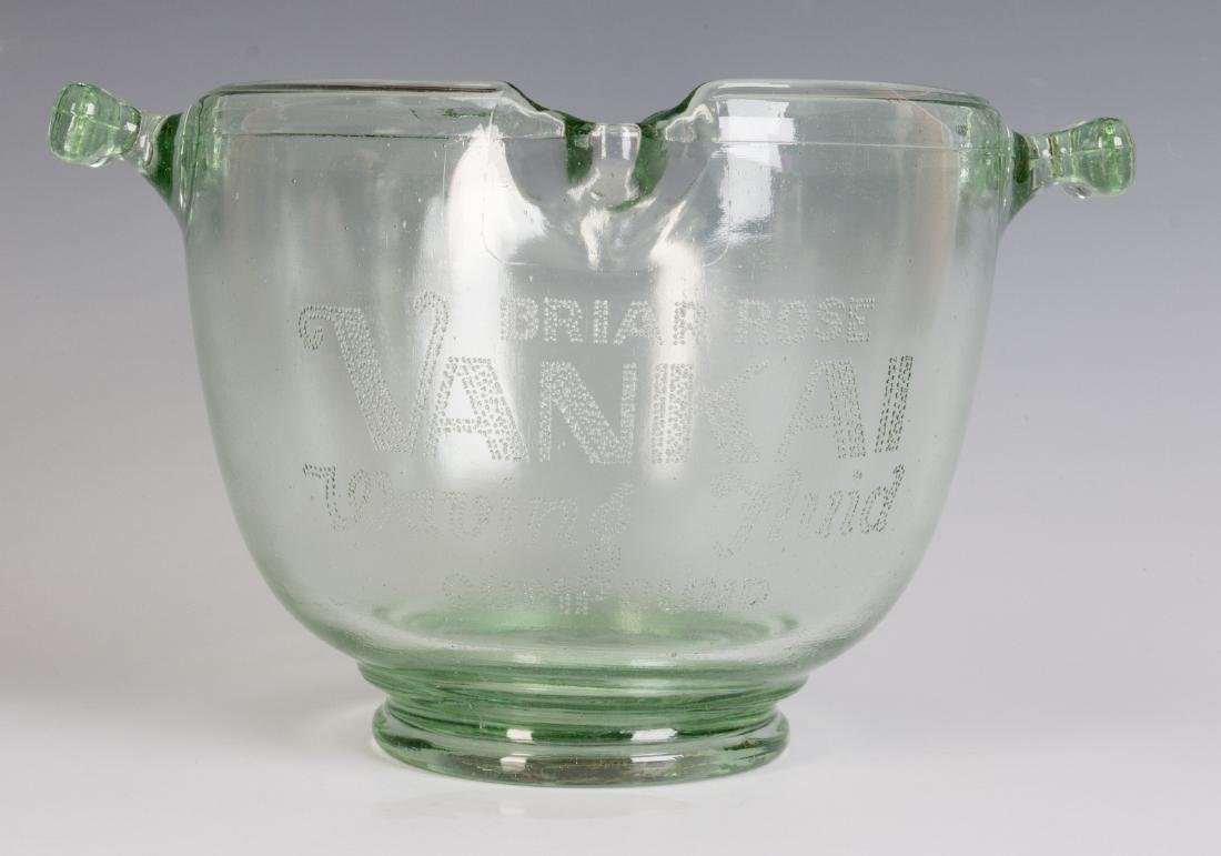 A 1930s GLASS ADVERTISING BOWL, HAIR WAVE COMPOUND