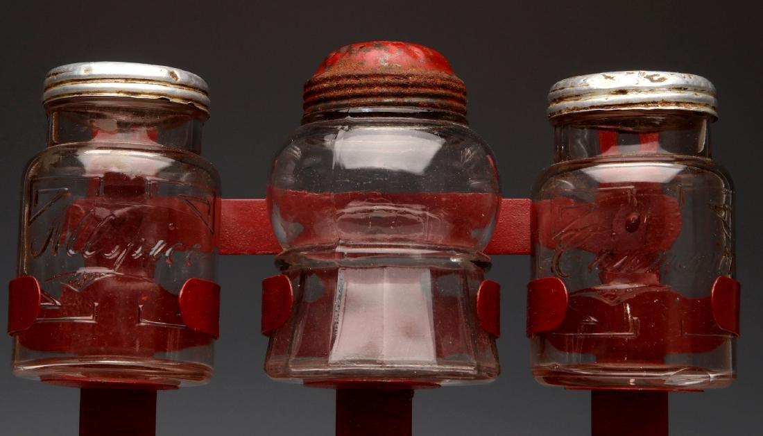 AN UNUSUAL 1930s GLASS JAR HANGING SPICE RACK - 3