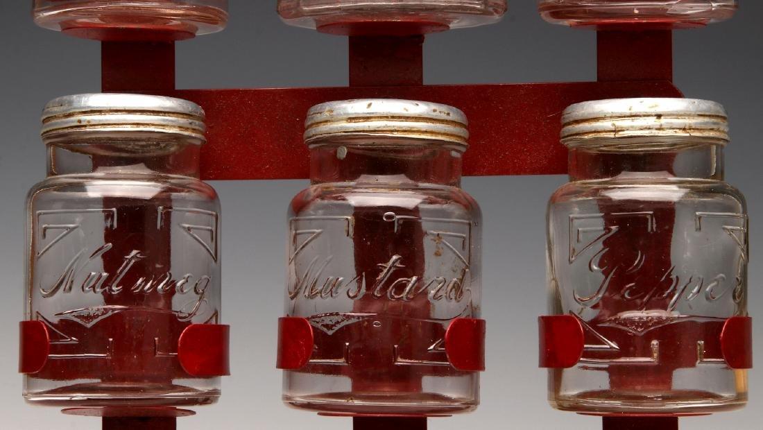 AN UNUSUAL 1930s GLASS JAR HANGING SPICE RACK - 4