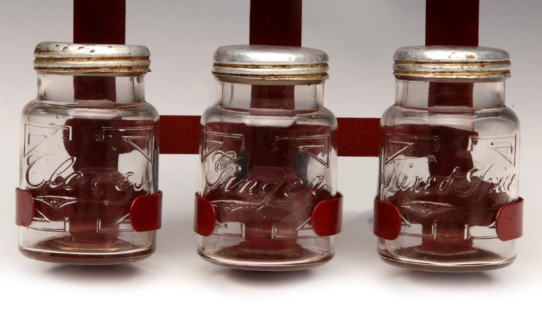AN UNUSUAL 1930s GLASS JAR HANGING SPICE RACK - 5