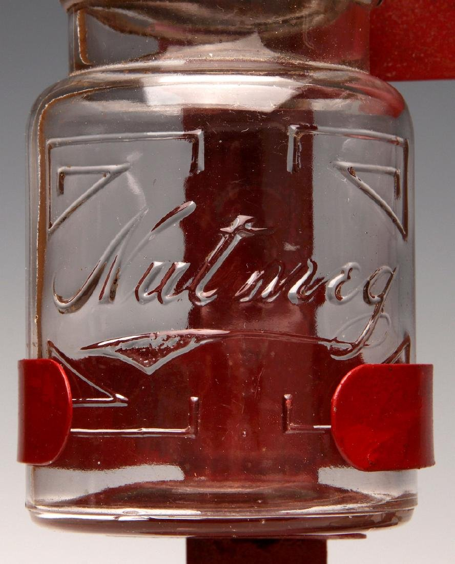 AN UNUSUAL 1930s GLASS JAR HANGING SPICE RACK - 6