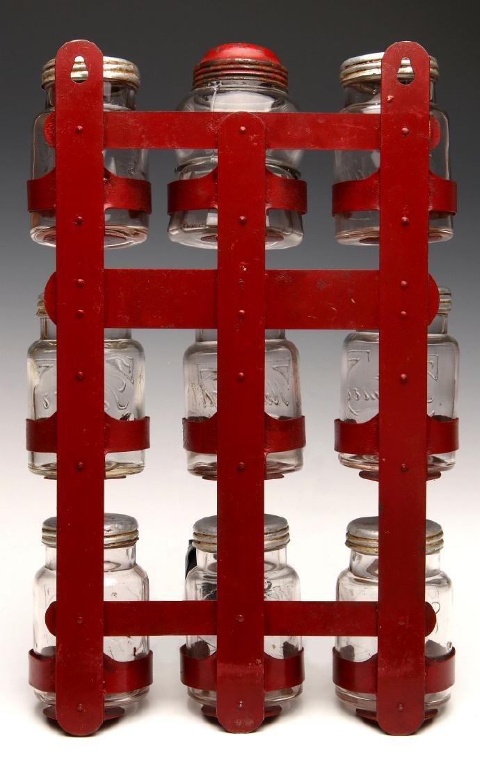 AN UNUSUAL 1930s GLASS JAR HANGING SPICE RACK - 8