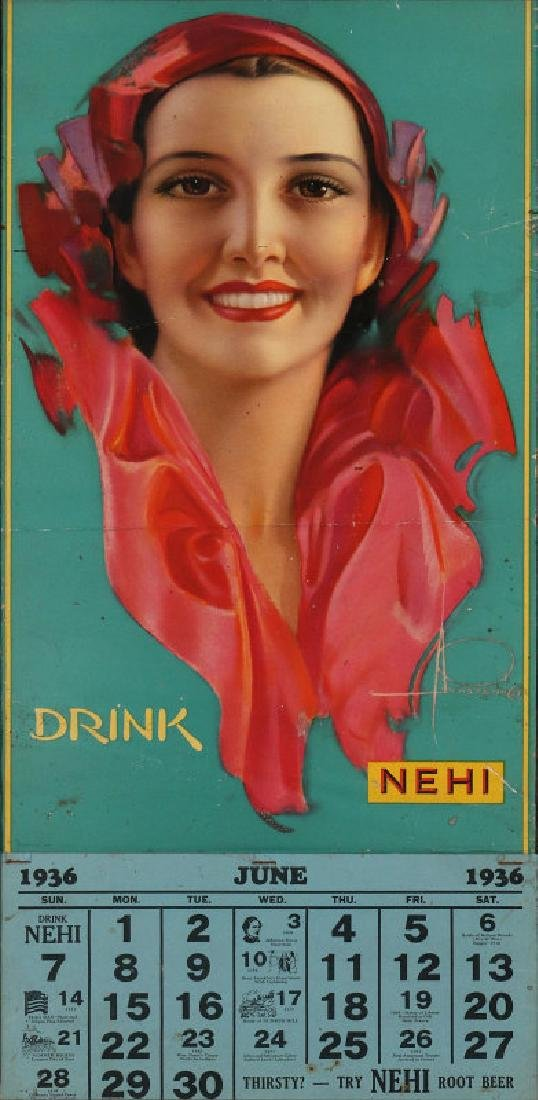 ROLF ARMSTRONG ILLUSTRATED CALENDAR FOR NEHI SODA