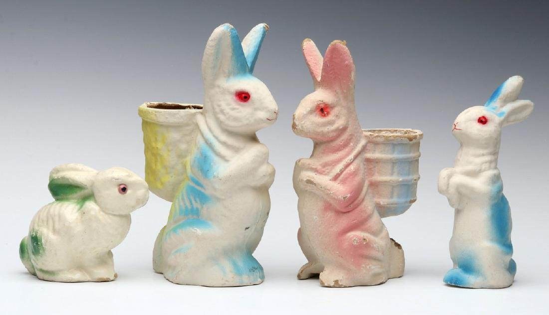 VINTAGE PRESSED PAPER EASTER RABBIT FIGURES