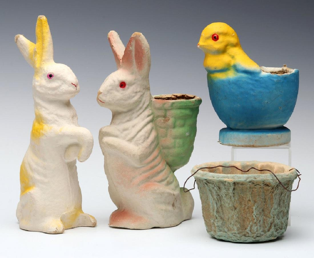 VINTAGE PRESSED PAPER EASTER CANDY CONTAINERS