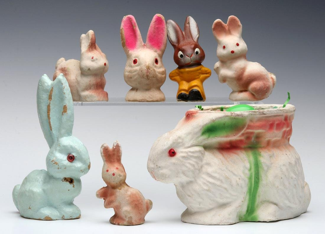 A COLLECTION OF VINTAGE EASTER RABBIT FIGURES