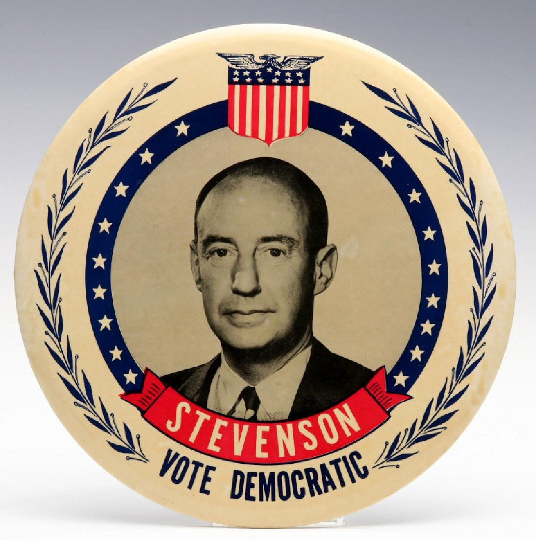 A NINE INCH ADLAI STEVENSON 1952 PORTRAIT BUTTON