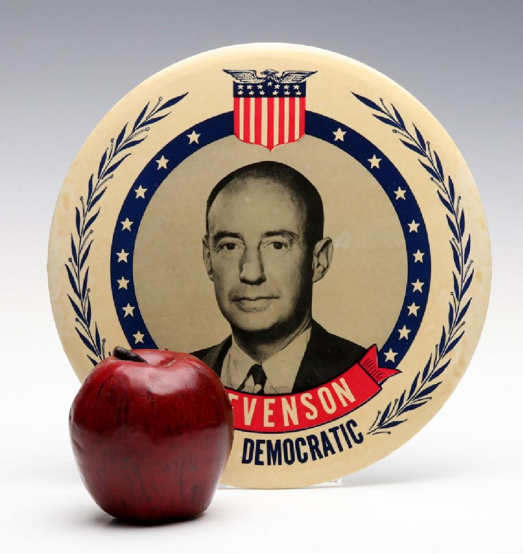 A NINE INCH ADLAI STEVENSON 1952 PORTRAIT BUTTON - 2