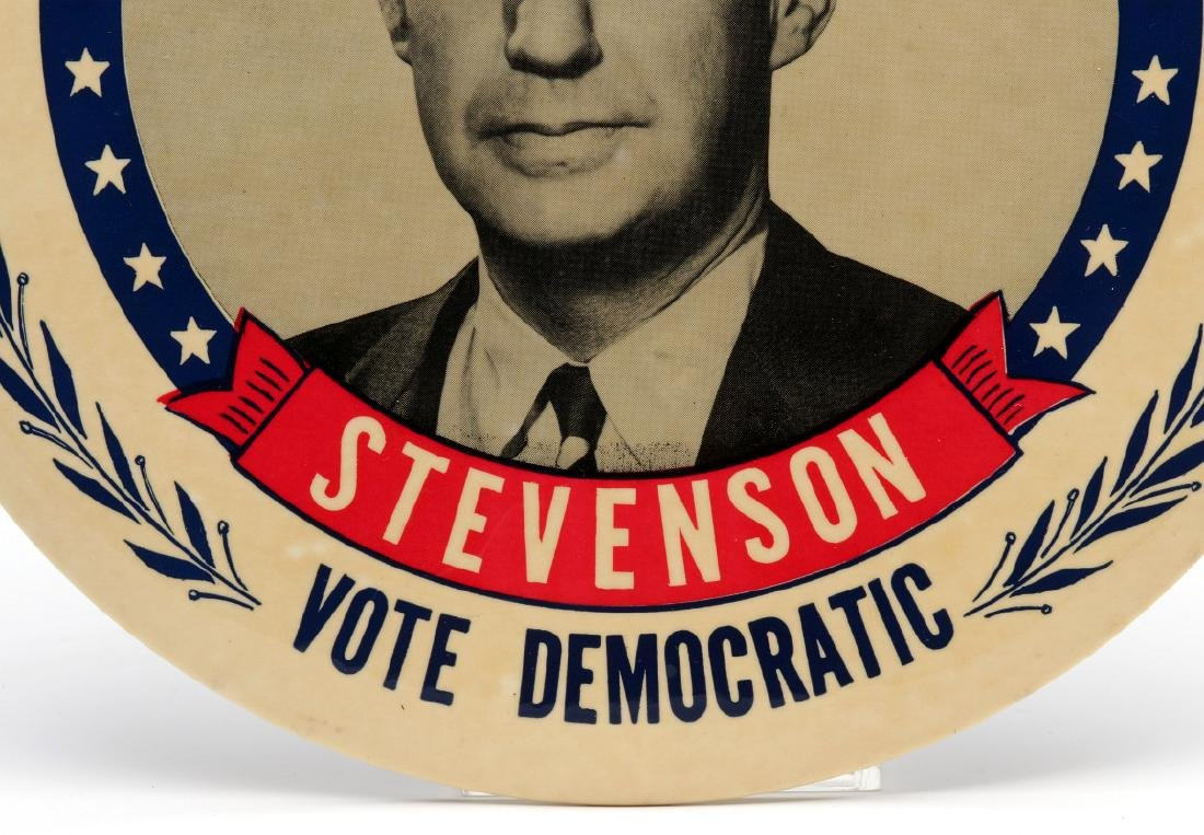 A NINE INCH ADLAI STEVENSON 1952 PORTRAIT BUTTON - 5