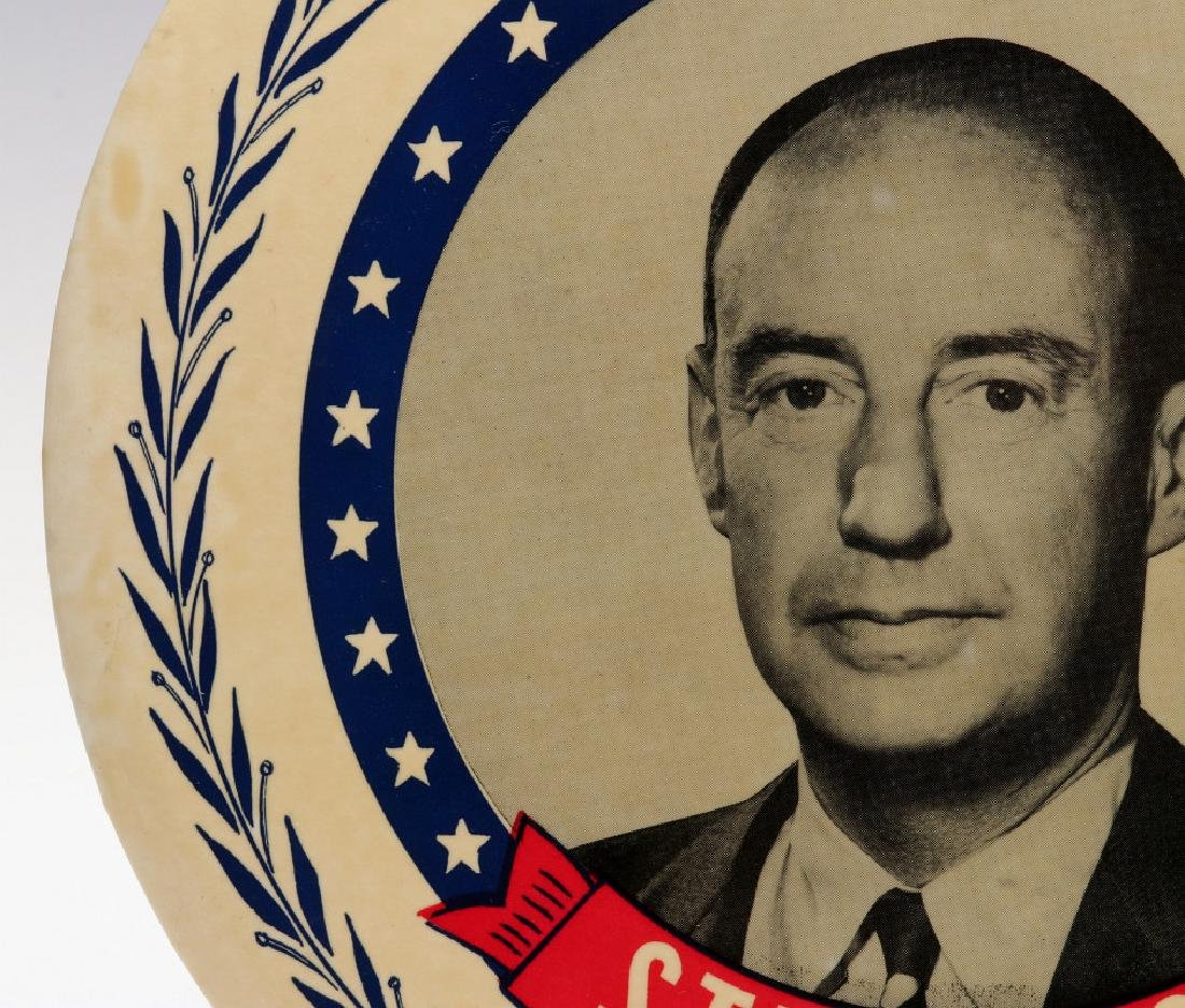 A NINE INCH ADLAI STEVENSON 1952 PORTRAIT BUTTON - 6