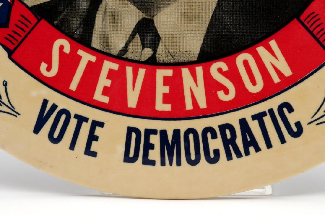A NINE INCH ADLAI STEVENSON 1952 PORTRAIT BUTTON - 8
