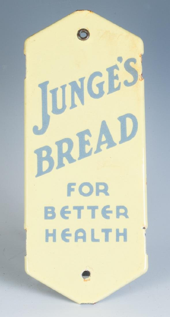 A PORCELAIN DOOR PUSH ADVERTISING JUNGE'S BREAD