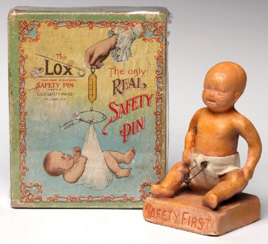 A 1900s BOX WITH GREAT GRAPHICS FOR LOX BABY PINS