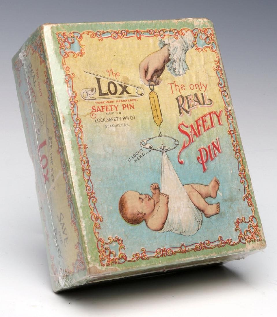 A 1900s BOX WITH GREAT GRAPHICS FOR LOX BABY PINS - 3