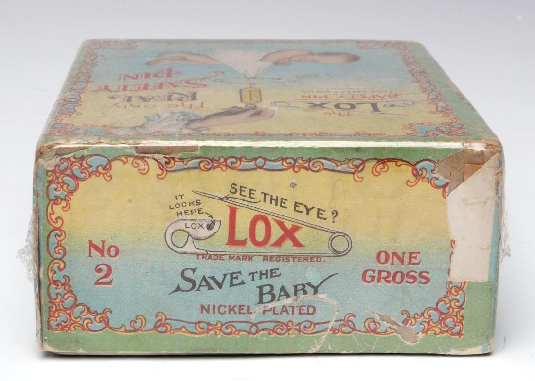A 1900s BOX WITH GREAT GRAPHICS FOR LOX BABY PINS - 7
