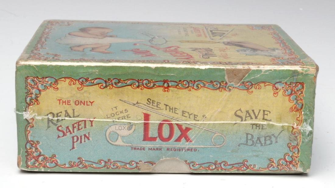 A 1900s BOX WITH GREAT GRAPHICS FOR LOX BABY PINS - 8
