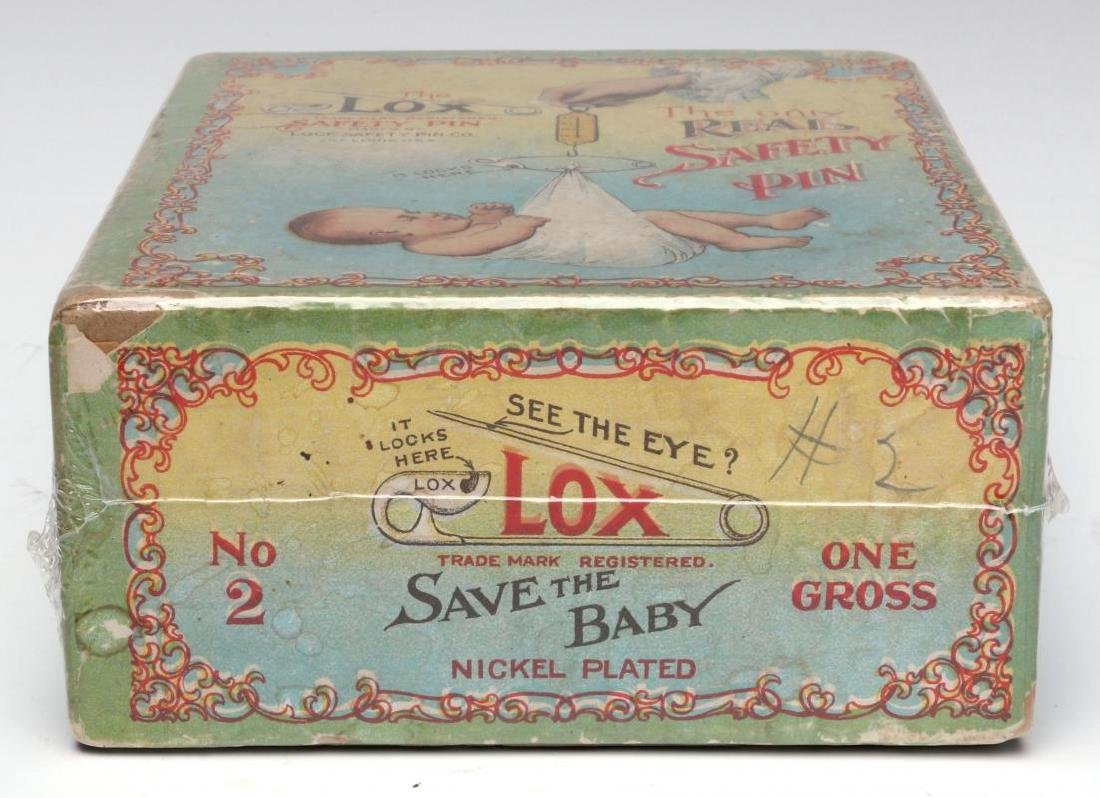 A 1900s BOX WITH GREAT GRAPHICS FOR LOX BABY PINS - 9