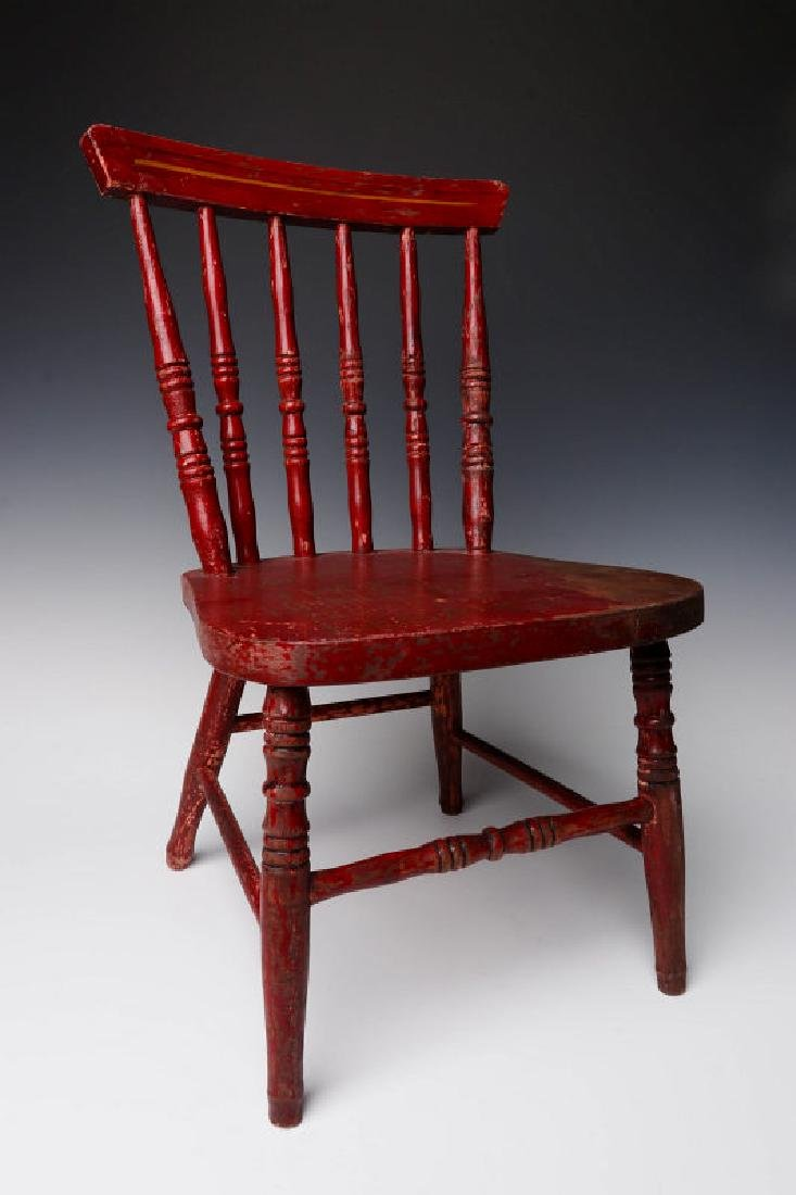 AN EARLY 20TH C CHILD'S CHAIR WITH ADVERTISING